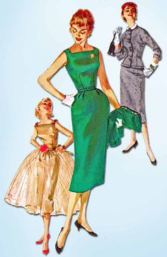 """Simplicity Pattern 1232 Misses' Dress Pattern with Great Looks for Day or Night Dated 1955 Complete Nice Condition 18 of 18 Pieces Counted. Verified. Guaranteed. Nice Condition Overall Size 12 (30"""" Bu"""