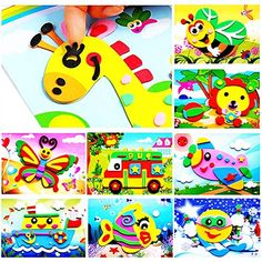 J&C EVA Foam Sticker Puzzle Game DIY Cartoon Animal Learning Education Toys for Toddler Kids Art Craft Kits (kidslove A) - Wanderlust Diy For Kids, Crafts For Kids, Arts And Crafts, Craft Box, Craft Kits, Toddler Learning, Toddler Toys, Diy Educational Toys For Toddlers, Toys For 1 Year Old