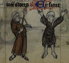 MAASTRICHT HOURS   Detail of a miniature of a friar playing an instrument while a nun dances; from the Maastricht Hours, Netherlands (Liège), 1st quarter of the 14th century.