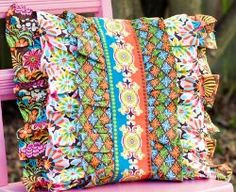 "FREE project: ""Glam-O-Ruffle Pillow"" by Josephine Kimberling (from AllFreeSewing.com)"