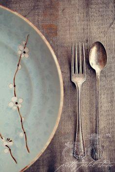 Fine Art Photograph, Vintage Fork Spoon, Silverware, Farm Table, Dinner, Teal Plate, White Flowers, Rustic, Cafe Art, Kitchen Art, 5x7 Print