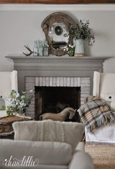 Fireplace Color- Winter Gates in Semi-Gloss by Benjamin Moore Wall Color- Horizon in Eggshell by Benjamin Moore