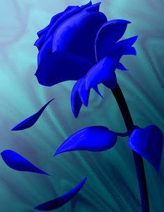 SAPPHIRE electric blue :: Blue Flower Illustration