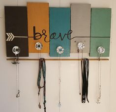 Jewelry organizer/ Brave necklace hanger/ Wall Decor/ Pallet art. Quality handmade one of a kind design created by Sparrow Artisan Designs.