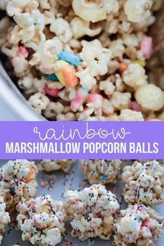 Marshmallow Popcorn Balls - the easiest way to make popcorn balls using only a few ingredients! Ooey, gooey and delicious, this version will be your new favorite. Marshmallow Popcorn, Marshmallow Recipes, Just Desserts, Delicious Desserts, Dessert Recipes, Yummy Treats, Sweet Treats, St. Patricks Day, Spring Treats
