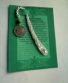 An Irish Legend, Coin representing An Táin Bó with Connemara Marble on a Celtic Bookmark, Harp and Shamrock, Student gift by VintageIrishDresser on Etsy Irish Christmas Gifts, Silver Christmas, Guinness Brewery, Celtic Circle, Irish Culture, Irish Pride, Unisex Gifts, Connemara, Gifts Under 10