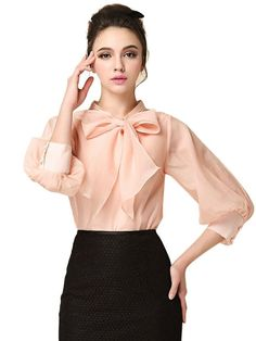 Choies Women's Business Plain Round Neck 3/4 Sleeve Bow Front Organza Blouse Shirt at Amazon Women's Clothing store: