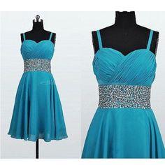 Simple Dress Handmade Spaghetti Beading Short Chiffon Prom Dresses/Homecoming Dresses/Party Dresses  CHPD-7218