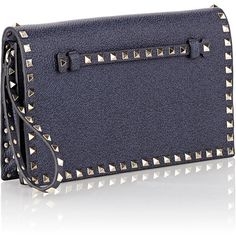 Valentino Rockstud Flap Clutch (22.378.245 IDR) ❤ liked on Polyvore featuring bags, handbags, clutches, valentino purses, studded purse, flat purse, blue studded handbag and blue purse
