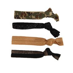 Glam Bands Camo, Black and Gold Combo Hair Ties ($14) ❤ liked on Polyvore featuring accessories, hair accessories, fillers, hair, combo, black and gold hair accessories, elastic hair ties, ponytail hair ties and knotted hair ties