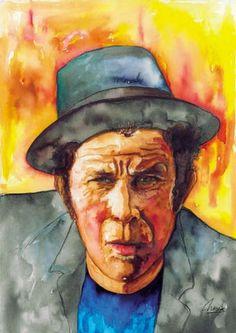 """Tom Waitys"" - mixed media - 14x28 inches - Original art by Marcelo Neira"