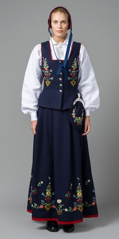 """Lofoten bunad"" is a blue bunad from Lofoten, Nordland, Norway Folk Costume, Costumes, Norwegian People, Holidays In Norway, Norwegian Vikings, Folk Clothing, Lofoten, Summer Outfits Women, Traditional Dresses"