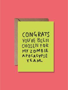 Zombie Apocalypse Greeting Card - Friendship Card - £2.50 - By Lauren Goodland