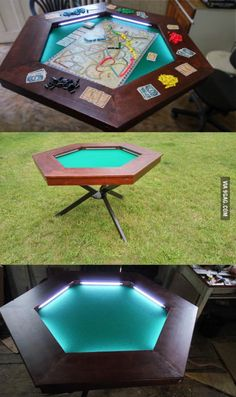 My Boardgame table. Posted some more photos if you are interested. My Boardgame table. Posted some more photos if you are interested. Nerd Room, Nerd Cave, Man Cave, Board Game Table, Board Games, Game Tables, Board Game Storage, Gaming Table Diy, Poker Table Diy