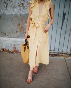 New Darlings - Dresses with Balance - Lace up Strappy Sandals - Yellow Reformation Maxi Dress - Summer Look- Straw Bag