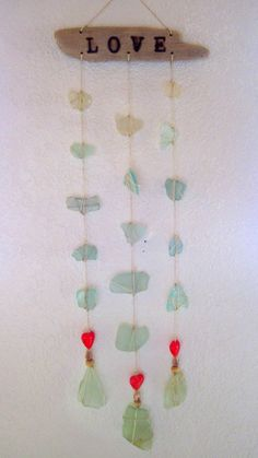 LOVE Driftwood and Sea Glass Windchime by JenniferSonjaArt on Etsy