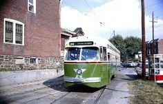 SEPTA  PCC  trolley  on Rt.34 at 61st  &  Baltimore