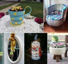 A Rope Covered Tire Planter with Tripod Legs Katie at Addicted 2 DIY created this wonderful planter from an old tire. You might have seen many kinds of tire planters but there is something so special about this beauty. It has got rope coiled around the tire along with wooden tripod legs. Isn't this so creative and original? A Cute Snowman Bronx Zoo via Pinterest shared a snowman that is created from old tires painted white. This snowman is added festivity of holiday season with fairy lights…