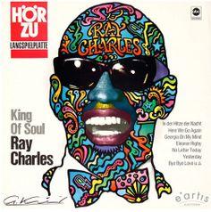 Günther Kieser, artwork for album cover King of Soul Ray Charles, 1968. Signed. Germany. For Hör Zu TV magazine.
