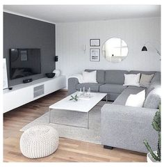 Living Room Color Schemes, Gray Living Room Design, Minimalist Living Room, Livingroom Layout, Living Room Diy, Living Room Modern, Living Room White, Elegant Living Room, Living Room Grey