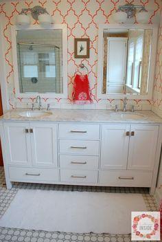 A DIY stenciled bathroom using the Marrakech Trellis Allover Stencil from Cutting Edge Stencils. http://www.cuttingedgestencils.com/moroccan-stencil-marrakech.html  #cuttingedgestencils #stencils #stenciling #wallstencil #diy #stenciledbathroom #colorful #marrakechtrellis #moroccanstencil