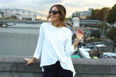Kenza wearing our white oversize top http://www.tarajarmon.fr #tara_jarmon #white #paris