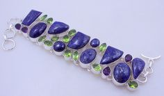 Free Shipping 67 gram stunning LAPIS LAZULI-PERIDOT-amethyst  stone  .925 sterling silver handmade bracelet free shipping by OCEANJEWELLERS on Etsy