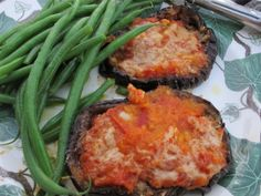 Aubergine/eggplant rounds with cheesy tomato topping