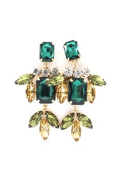 82d5dd19d4f5 Emerald and Champagne Crystal Tiffany Earrings