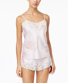Lauren Ralph Lauren Lace-Trimmed Satin Cami and Shorts Pajama Set