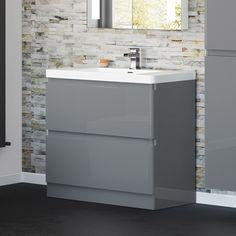 Denver Gloss Grey 900mm Built In Basin Drawer Unit - Floor Standing