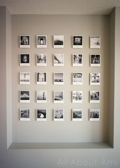 Polaroid style travel gallery for home office. themes travel Polaroid Travel Photo Wall - All About Ami Polaroid Wall, Polaroid Photos, Polaroid Display, Polaroids On Wall, Instax Wall, Polaroid Pictures Display, Polaroid Ideas, Display Photos, Photowall Ideas