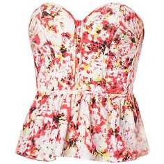 Parker Watercolor Floral Emma Strapless Top ($187) ❤ liked on Polyvore featuring tops, shirts, blusas, tank tops, peplum shirt, peplum tops, floral print shirt, strapless shirts and colorful shirts