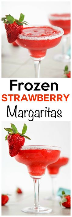 Frozen Strawberry Margaritas: Frosty and sweet strawberry margaritas that are amazingly refreshing. Only 5 ingredients and 5 minutes from blender to your lips! Frozen Strawberry Margarita, Frozen Margaritas, Frozen Alcoholic Drinks, Watermelon Margarita, Frozen Cocktails, Craft Cocktails, Beach Drinks, Summer Drinks, Fun Drinks