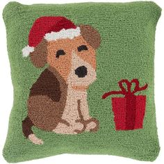 Green Winter Hound 18-Inch Throw Pillow with Down Fill