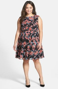 Halogen® Pleat Fit & Flare Dress (Plus Size) available at #Nordstrom