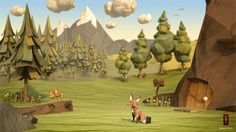 Paper Fox Project | 3D CGI Papercraft Daytime Woodland Environment Featuring Character