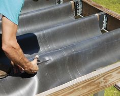 When editorial adviser Mike Guertin builds a deck with more than 4 ft. of space between the framing and the grade, he installs an underdeck-drainage system. In this step-by-step guide, learn Mike's method for deck drainage. Deck Building Plans, Deck Plans, Building A House, Cool Deck, Diy Deck, Under Deck Roofing, Waterproof Pergola Covers, Under Deck Storage, Raised Deck