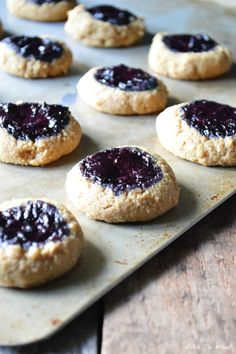 Grain Free Blueberry Jam Thumbprint Cookies
