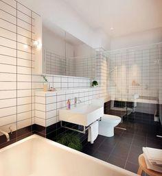 White bathroom tiles with black grouting. Sleek & modern!      Nelson Alexander Real Estate  Melbourne, Australia    RICHMOND, Wertheim Piano Factory, Jago Street