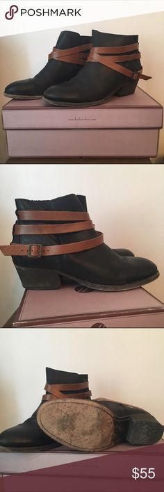 """Hudson Horrigan Black Ankle Boot with Cognac Strap Worn about 8 - 10 times. Just too tight. They are a European size 41, but a US 10. They have normal signs of wear, but nothing abnormal to note. """"These Hudson Horrigan Ankle Boots from H by Hudson are a perfect transitional style. The boot features a round toe and low wooden cuban heel for essential laid back winter wear. Beautifully crafted to feature a leather outer with leather ankle straps and back."""" H By Hudson Shoes Ankle Boots…"""