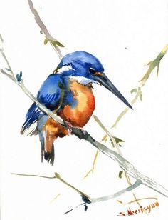 Azure Kingfisher original 1- nature- watercolor painting 12 X by ORIGINALONLY, $32.00