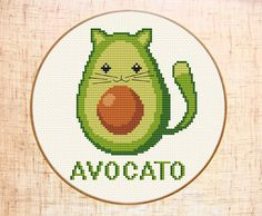 Funny avocado-cat cross stitch pattern. Avocato cross stitch