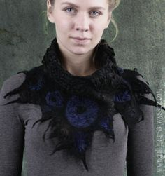 Felted Scarf - Nuno-felted scarves - handmade unique scarf - Felt Cowl - Black Crow