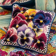 """Mini Pansies - Ehrman Tapestry. By Elian McCready.  13.5"""" x 13.5"""". 34 cm x 34 cm. 12 holes to the inch. Ehrman wools.  Included in the Kit The kits include a 100% cotton canvas printed in full colour, all the yarns required (100% pure new wool), a needle and an easy to follow guide to get you underway."""