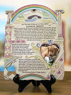 Remembrance Plaque Pet Memorial With Rainbow Bridge Poem And Picture Frame