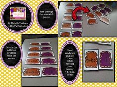 Peanut Butter Jelly Addition Match Game is a classroom hit! Students must build peanut butter and jelly sandwiches by matching number sentences with the correct answer. The game comes with sandwich pieces for addition problems 0 through 10. There is also an extension worksheet that allows students to write some of their number sentences down.    It is easy to prep and fun to play!