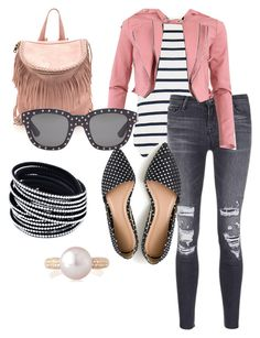 """""""outfit #053"""" by ishtori-ls on Polyvore featuring Oasis, J Brand, J.Crew, FRACOMINA, Yves Saint Laurent and Belpearl"""