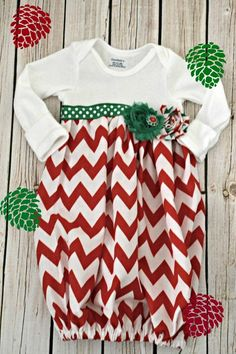 Baby Layette Christmas Gown  -Coming Home Outfit - Sleep Sack - baby layette gown -Infant Gown - Photo Prop - baby shower on Etsy, $25.00