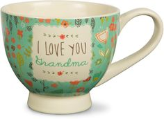 Pavilion Gift Company 54001 'A Mother's Love-I Love You Grandma' Floral Soup Bowl Mug, Teal, 17 oz ** Find out more about the great product at the image link.